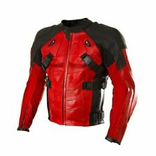 New Deadpool Red Black Motorcycle Racing Classic Cowhide Leather Jacket Armour