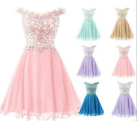 Short Chiffon Bridesmaid Formal Gown Ball Party Evening Prom Dress Size 6-18