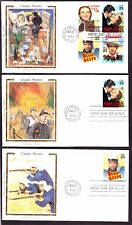 """US 2445-2448 25c Classic Movies First Day Covers Lot w/ Colorano """"Silk"""" Cachets"""
