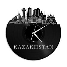Kazakhstan Vinyl Wall Clock City Skyline Vintage Gift Room Office Decoration