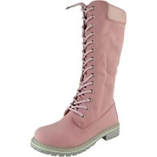 Womens Mid Calf BOOTS Ladies Lace up Low Heel Combat Winter Flat Shoes Size UK 6 / EU 39 / US 8 Pink