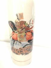 Vintage Signed Japanese Tall Vase With Samurai Warrior Japaneese On Horseback