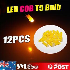 12pcs T5 COB LED Lights Dashboard Cluster Gauge Corner Bumper Lamp Bulbs Amber