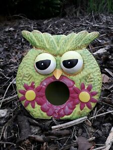 Metal Garden Birdhouse Colourful Hand Painted Owl - Green