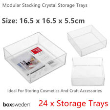 24x Clear Acrylic Organizer Storage Containers 16cm Makeup Compartment Trays Box