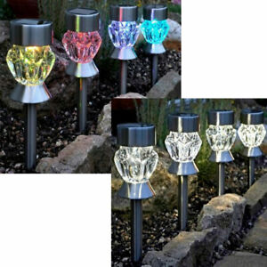 4PK Solar LED Garden Lights Crystal Stake Post Patio Path Outdoor Colour Lights