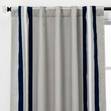 Printed Stripe Blackout Window Curtain Panel Gray 84'' - Pillowfort™ Open Box