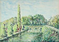 Vintage FrenchWatercolor,Bridge on the Sarthe River, Alpes Mancelles, Signed