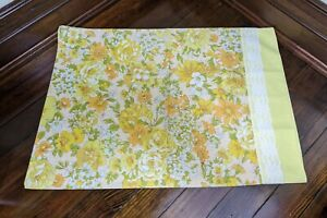 Vintage Sears Roebuck Perma Prest Percale Pillow Case Floral Yellow Lace EUC