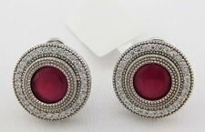GENUINE 3.28 Carats RUBIES & WHITE SAPPHIRE EARRINGS .925 sterling silver *NEW*
