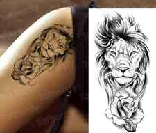 Lion, Lioness & Rose Temporary Transfer Tattoo Sleeve Women Mens Fore Arm Thigh