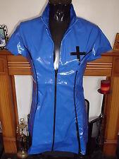BLUE & BLACK HEAVY TIGHT PVC MATRON NURSE DRESS X LARGE 14