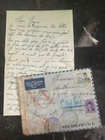 1940 Alexandria Egypt Dual Censored Cover to Caylus France Letter Enclosed