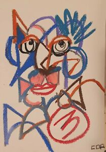 EXPRESSIONIST ABSTRACT PORTRAIT ORIGINAL CONTEMPORARY MODERNIST DESIGN PAINTING