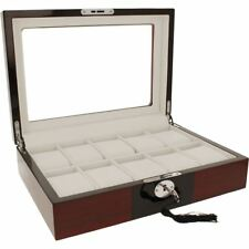 Orbit Watch Box For Men Red & Black Wood Finish With Lock Fits 10 Watches RRP£90
