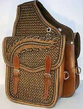 Western Natural Oil Leather Hand Tooled Saddle Bag with Stainless Steel Buckles