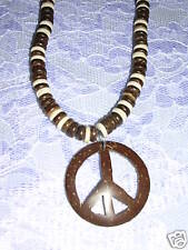 BROWN & WHITE COCO BEADS & COCONUT PEACE SIGN NECKLACE