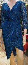 LITTLE MISTRESS Teal 3/4 Sleeved Lace Bodycon Cocktail Dress Size 8 BNWT RRP £65