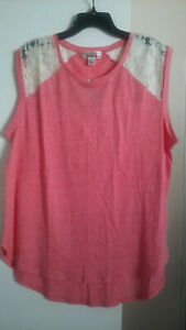 Derek Heart Juniors Plus Orange Marled Hi/Low Sleeveless Curve Tunic T-shirt 2X
