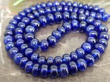Top Grade! Natural untreated sapphire Smooth Rondelle Big 8mm Deep Blue Necklace