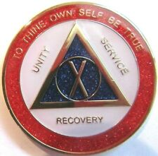 Red White Blue Sparkle Alcoholics Anonymous 10 Year Aa Medallion Coin Token chip