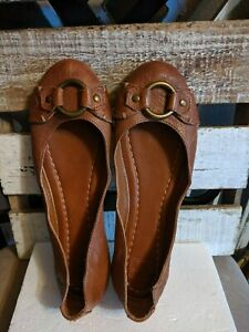 Frye sz 7 M Carson Harness Ballet Flats cognac tan Leather Round Toe Women's