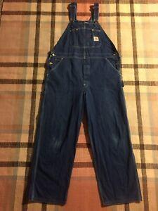Carhartt R07 DST Carpenter Blue Denim Bib Overalls Size 40 x 30!!! 3605