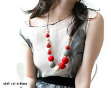 Wooden bead necklace Red Grey felt balls, Fashionable women necklace Girl