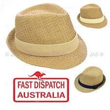 Men Women Ladies Faux Straw Party Beach Summer Breathable Fedora Trilby Hat
