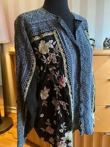 Johnny Was Black Rumi Floral Blouse Top   Size XL