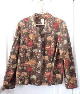 J Jill Womens Size Large Tall LT Jacket Textured Rose Floral Print Brown Stretch