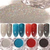 4 Boxen Holographisch Nagel Glitzer Pulver Silber Nail Art Pigment Staub Dekor