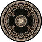 """BLACK FRENCH ORIENTAL AREA RUG 8X8 ROUND Persien 023 - ACTUAL 7' 10"""" x 7' 10"""""""