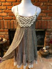 A'Reve ANTHROPOLOGIE Layered BoHo Hippy Baby Doll Tie Short Mini Maxi Dress sz L