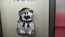 Pin New in Box Enamel Napier Christmas Bear Jeweled Crystals Brooch