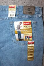 Wrangler Men 44 x 30 Relaxed Fit Jeans NWT Cowboy Ranch Blue Denim Pants Work