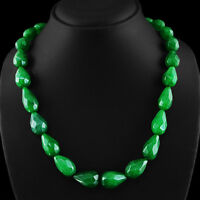 511.65 CTS EARTH MINED RICH GREEN EMERALD PEAR SHAPED FACETED BEADS NECKLACE