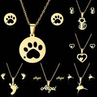 Fashion Hot Cat Paw Women Stainless Steel Gold Necklace Earrings Set Jewelry