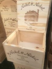 "Nickel & Nickel Wine Crate /Wine Box Large W Lid 14x12x8"" Logos On 5 Sides - OWC"