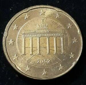 Monnaie 20 Cent Euro Allemagne 2002 F Roue de wagon Erreur faute fautée (75)