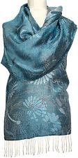 Seidenschal Blau Grau Silber Floralmuster 100%Seide silk scarf Foulard soie blue