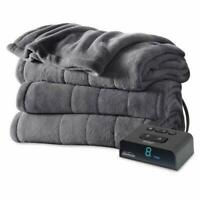 Microplush Electric Blanket Dual Control Heated Twin Full Queen King Size Slate