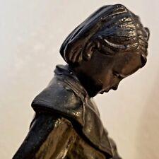 Russian Schoolgirl Statue Soviet Cast. KASLI. Russian Metal Casting / Circa:1960