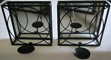 Pair of Wrought Iron Black Wall Mirrored Pillar Candle Holders