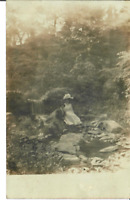 Man and Woman sitting near Waterfall Antique Unposted RPPC Postcard