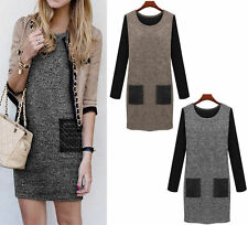 Thigh-Length Patternless 3/4 Sleeve Casual Dresses for Women