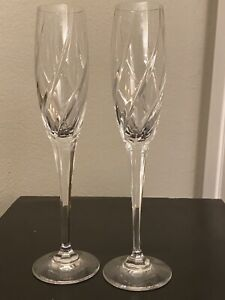 "Set Of 2 Mikasa Crystal Olympus Pattern Champagne Glasses Stemmed 9"" Cheers A+"
