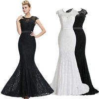 Lace FISHTAIL Formal Evening Party Bridesmaid LONG Prom Dress 6 8 10 12 14 16 18