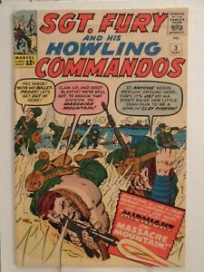 SGT. FURY #3 (1964) Reed Richards, Hans Schmidt, General Curtis, Nice Condition