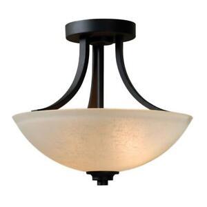 Dynasty 2Light Burnished Bronze SemiFlush Mount Light w/ Amber Linen Glass Shade